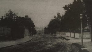 view of muddy road, lined by garden walls and trees, sloping down hill.