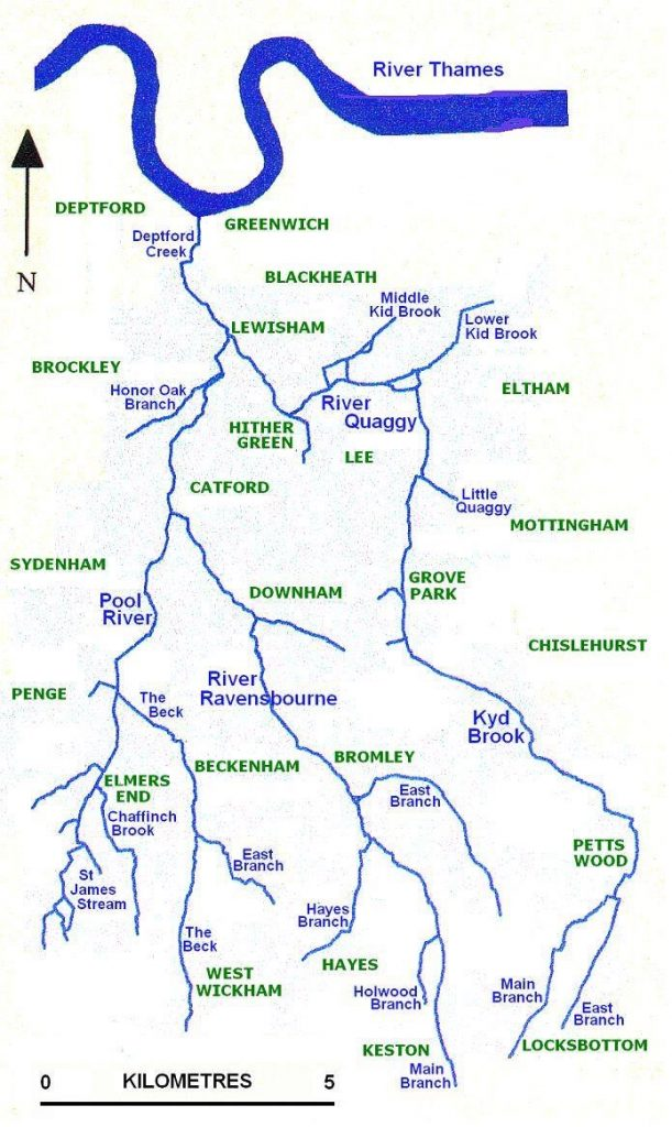 diagram of rivers ravensbourne quaggy n kyd brook