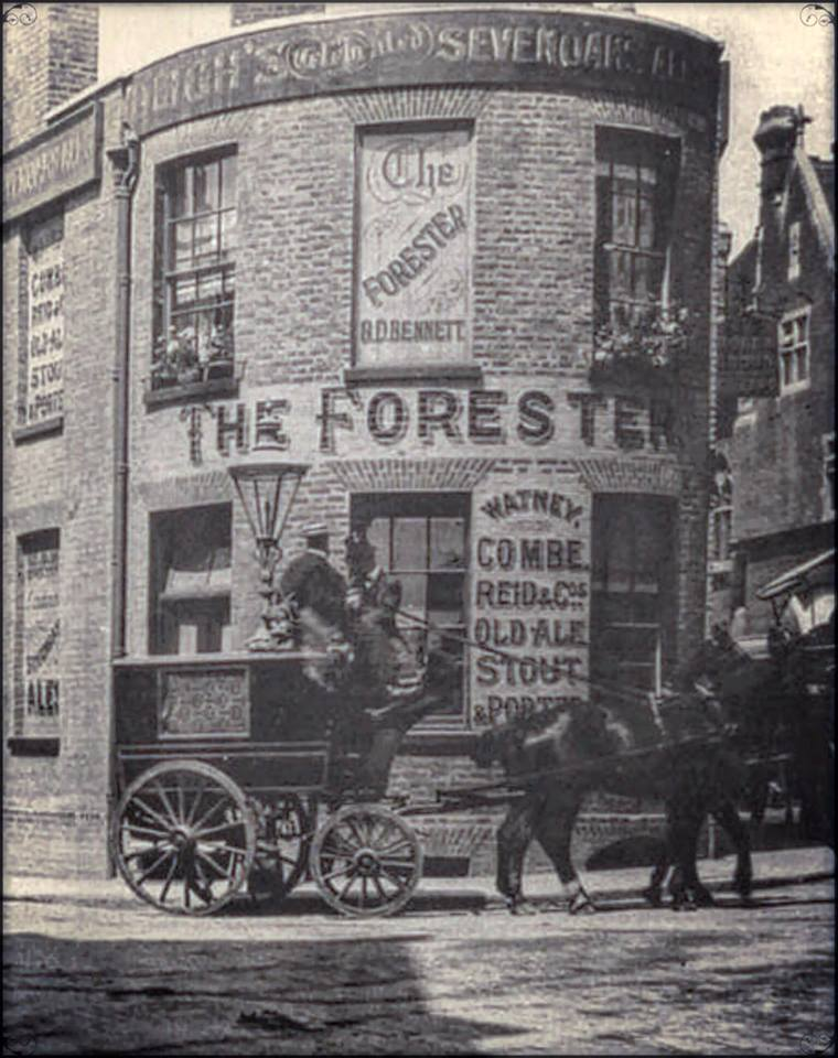 rounded shop front and horse and cart