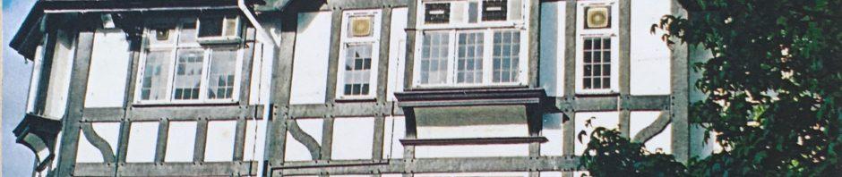 black and white mock tudor buildings