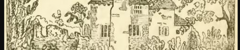 Drawing of a house with thick walls and a large tudor chimney