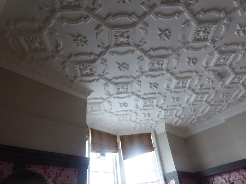 broken circle and diamond patterned ceiling