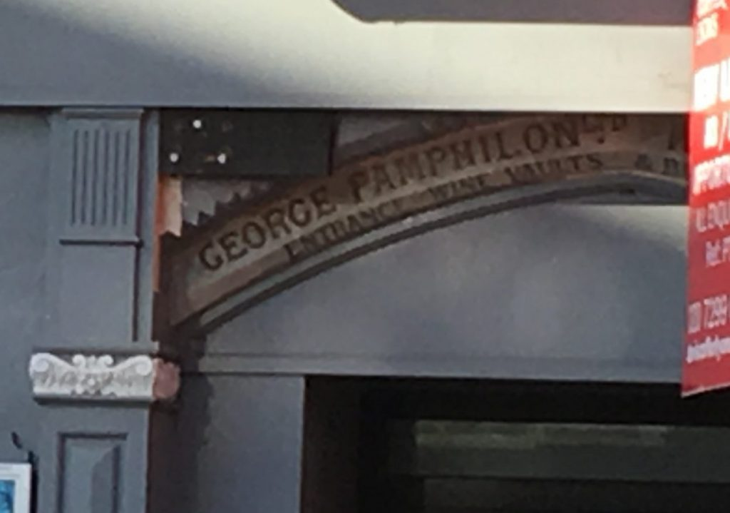 George Pampilons name in arch