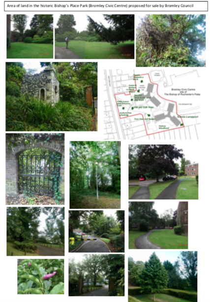 photos of folly, fancy iron gate, narnia lamp post, and parkland