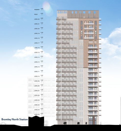 Diagram of 20 storey tower next to 2 storey station