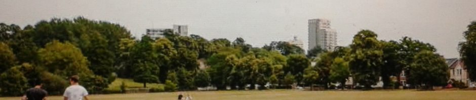 Grassy park with Churchill Theatre peeping over trees