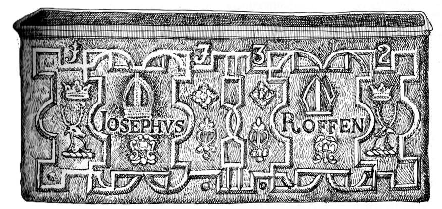 drawing of lead cistern with decorations