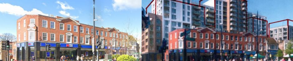 row of high rises towering over 3-storey high-street